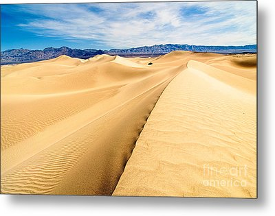 Endless Dunes - Panoramic View Of Sand Dunes In Death Valley National Park Metal Print