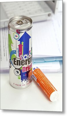 Energy Drink And Vitamin Pills Metal Print by Science Photo Library