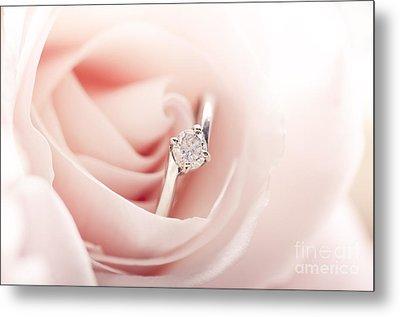Engagement Ring In Pink Rose Metal Print by Jelena Jovanovic