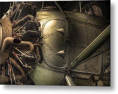 Radial Engine And Fuselage Detail - Radial Engine Aluminum Fuselage Vintage Aircraft Metal Print by Gary Heller