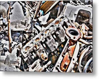 Engine For Parts - Automotive Recycling Metal Print by Crystal Harman