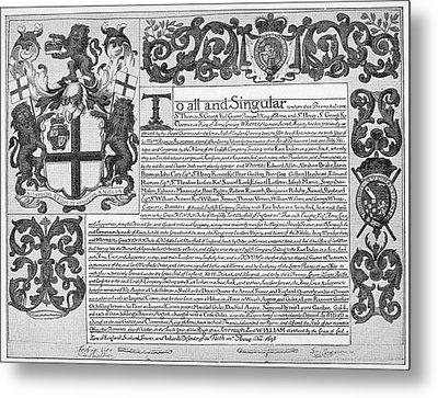 England Trade Charter Metal Print by Granger