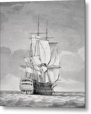 English Line-of-battle Ship, 18th Century Metal Print by Charles Brooking