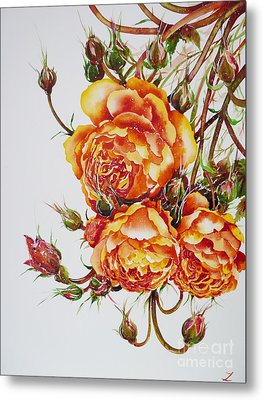 English Roses Metal Print by Zaira Dzhaubaeva