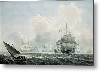 English Ships Of War Metal Print by Robert Cleveley
