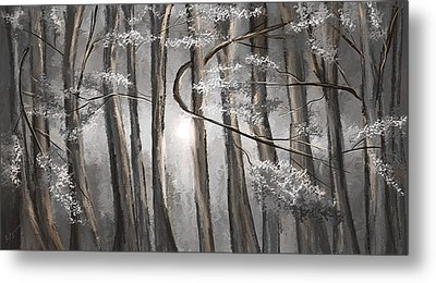 Enigmatic Woods- Shades Of Gray Art Metal Print by Lourry Legarde