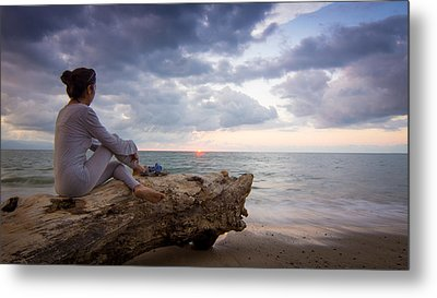 Enjoing The Sunset Metal Print by Aged Pixel