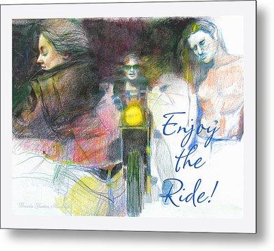 Metal Print featuring the drawing Enjoy The Ride by Brooks Garten Hauschild