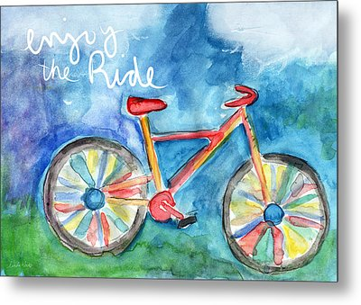 Enjoy The Ride- Colorful Bike Painting Metal Print by Linda Woods
