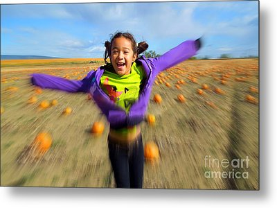 Enjoying Pumpkin Patch Metal Print