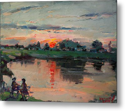 Enjoying The Sunset By Elmer's Pond Metal Print by Ylli Haruni