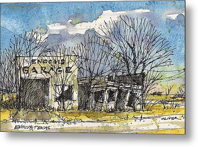 Metal Print featuring the mixed media Enochs Garage by Tim Oliver