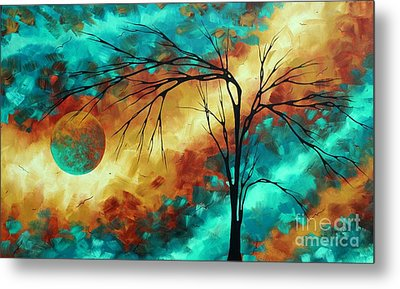 Enormous Abstract Art Brilliant Colors Original Contemporary Painting Reaching For The Moon Madart Metal Print