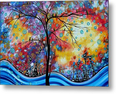 Enormous Whimsical Cityscape Tree Bird Painting Original Landscape Art Worlds Away By Madart Metal Print by Megan Duncanson