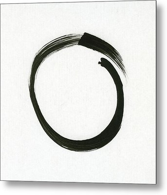 Enso #1 - Zen Circle Minimalistic Black And White Metal Print by Marianna Mills