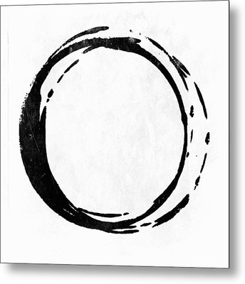 Enso No. 107 Black On White Metal Print