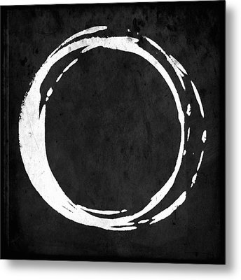Enso No. 107 White On Black Metal Print