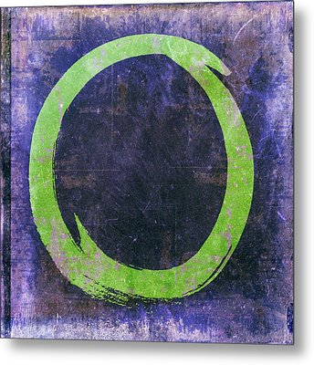 Enso No. 108 Green On Purple Metal Print