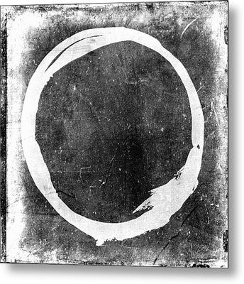 Enso No. 109 White On Black Metal Print