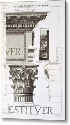 Entablature, Capital And Inscription Metal Print by Antoine Babuty Desgodets
