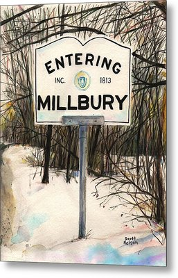 Entering Millbury Metal Print