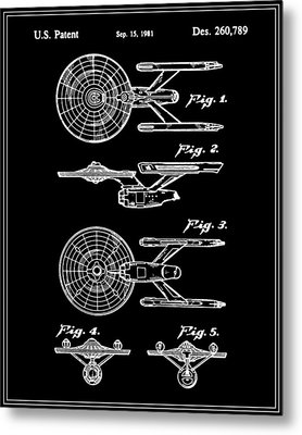Enterprise Toy Figure Patent - Black Metal Print by Finlay McNevin