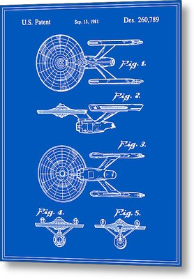 Enterprise Toy Figure Patent - Blueprint Metal Print by Finlay McNevin