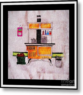 Enterprise Woodstove - Yellow Metal Print by Barbara Griffin