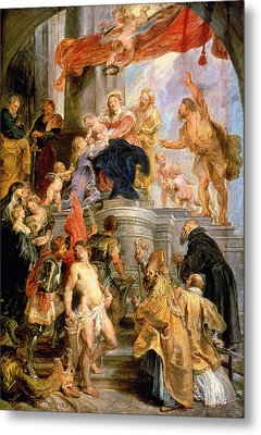 Enthroned Madonna With Child Encircled By Saints Metal Print by Rubens