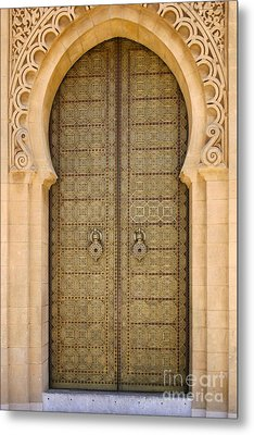 Entrance Door To The Mausoleum Mohammed V Rabat Morocco Metal Print by Ralph A  Ledergerber-Photography