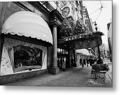 entrance to Macys department store on Broadway and 34th street at Herald square christmas Metal Print by Joe Fox