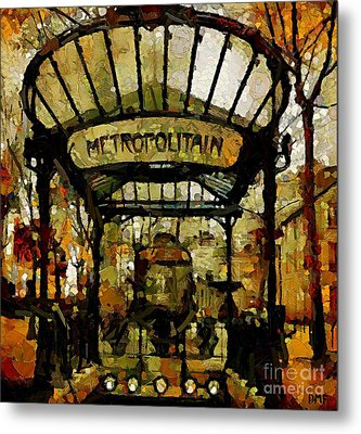 Entrance To The Paris Metro Metal Print by Dragica  Micki Fortuna