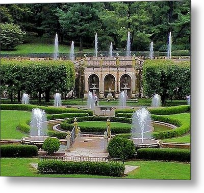 Entry Fountains At Longwood Gardens Metal Print by Kim Bemis