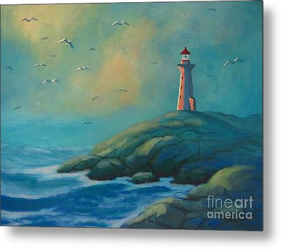 Envisioning Peggys Cove Lighthouse Metal Print by John Malone