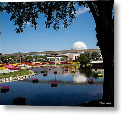 Epcot At Disney World Metal Print by Roger Wedegis