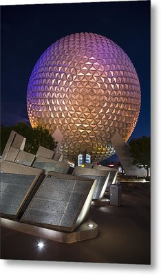 Epcot Spaceship Earth Metal Print by Adam Romanowicz