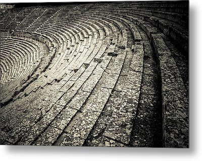 Epidavros Theatre Seats Metal Print by David Waldo