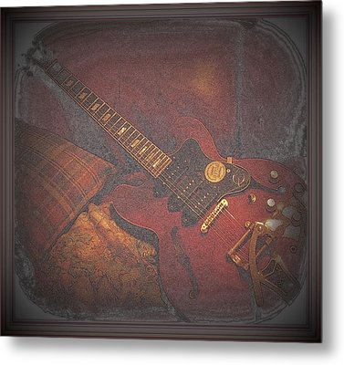Epiphone Riveria Archtop Guitar Metal Print by Rosemarie E Seppala