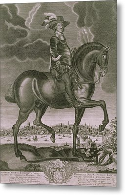 Equestrian Portrait Of Oliver Cromwell  Metal Print by Albert Haelwegh