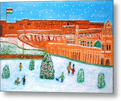 Metal Print featuring the painting Erbil Citadel Christmas  by Magdalena Frohnsdorff