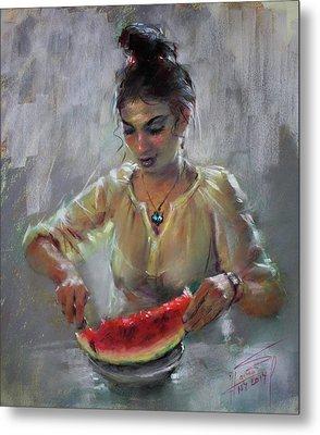 Erbora With Watermelon Metal Print by Ylli Haruni