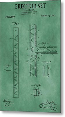 Erector Set Patent Green Metal Print