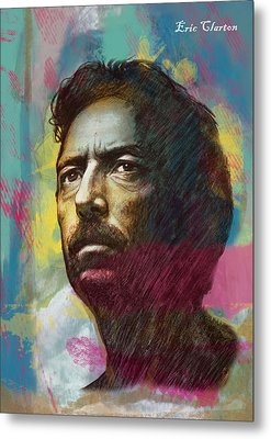 Eric Clapton Stylised Pop Art Drawing Poster Metal Print by Kim Wang