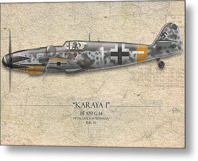 Erich Hartmann Messerschmitt Bf-109 - Map Background Metal Print by Craig Tinder