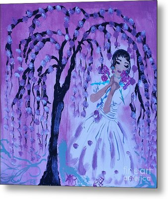 Erte'sblossom Umbrella Metal Print by Marie Bulger
