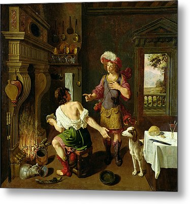 Esau Selling His Birthright To Jacob Metal Print by Michel Corneille