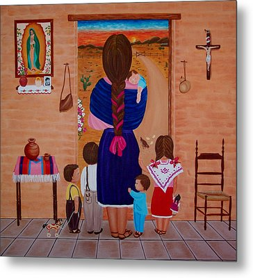 Metal Print featuring the painting Esperando A Papa by Evangelina Portillo