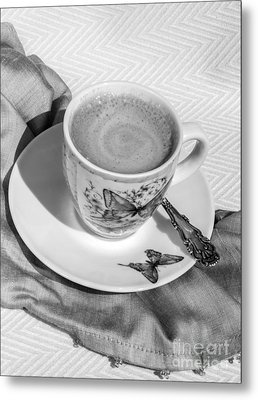 Espresso In Butterfly Cup In Black And White Metal Print