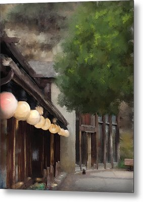 Metal Print featuring the painting Estes Park Downtown by Patricia Lintner
