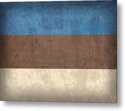 Estonia Flag Vintage Distressed Finish Metal Print by Design Turnpike